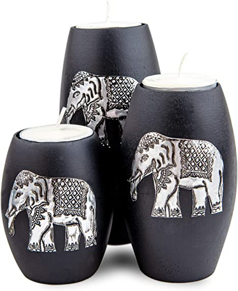 Amazon Com Iyara Craft 3 Wooden Candle Holders Elephant Home Decor Decorative Candle Holders With Inlaid Aluminium Antique Elephant Intricate Details Matte Wood Finish Ideal For Modern Rustic Settings