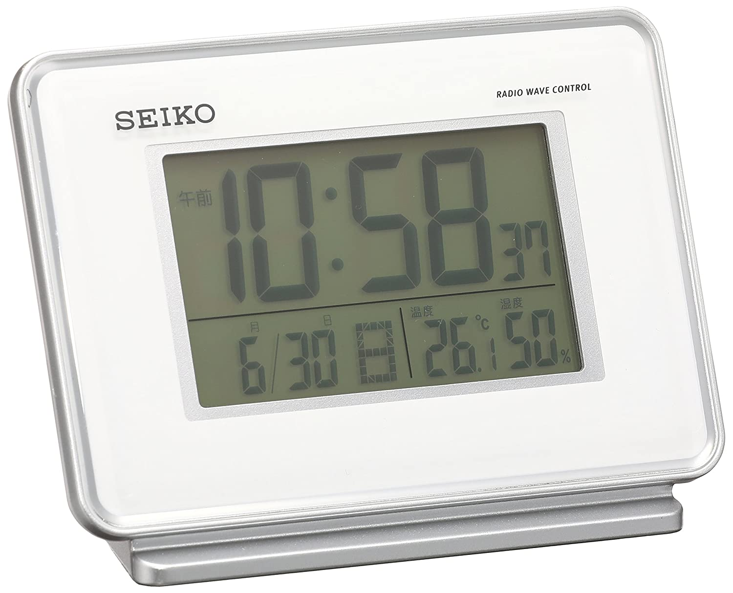 SEIKO CLOCK ( Seiko clock ) 2-channel alarm temperature and humidity radio digital alarm clock ( white ) SQ767W