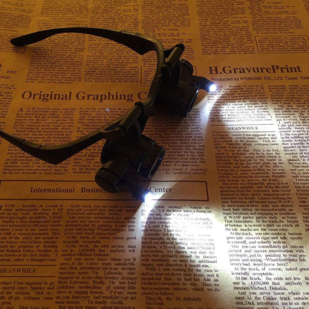 6a02ba8568 Gafas Lupa Con Luz LED Aumentos Relojero Joyeria Lupa 9892G -10X, 15X, 20X,  25X VSONE