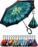 BAGAIL Double Layer Inverted Umbrella Reverse Folding Umbrellas Windproof UV Protection Big Straight Umbrella for Car…