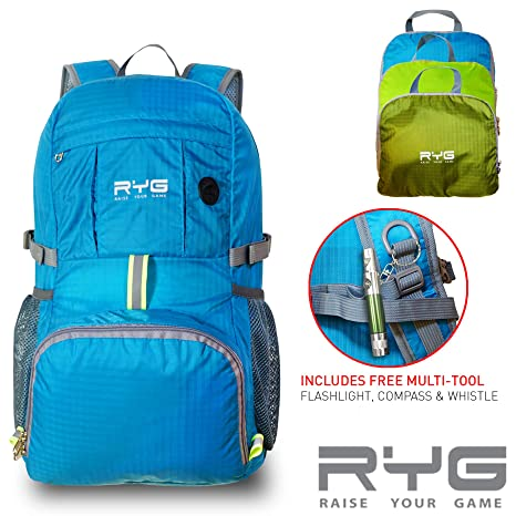 6978d57bbff Raise Your Game RYG Packable Lightweight Travel Backpack, Large Foldable  Water Resistant Hiking Daypack,