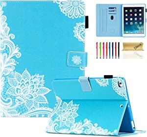 iPad 9.7 inch 2018 2017 Case/iPad Air Case/iPad Air 2 Case, Dteck PU Leather Folio Smart Cover with Auto Sleep Wake Multiple Stand Wallet Case for Apple iPad 6th / 5th Gen,iPad Air 1/2, Flower Mint