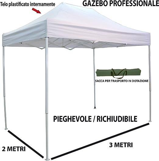 Carpa plegable telescópica de 3 x 2 m. Posee una lona de color blanco. Producto perfecto para mercados, ferias, manifestaciones, fiestas, acampadas y jardines: Amazon.es: Jardín