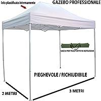 Savino Fiorenzo Gazebo Pieghevole richiudibile telescopico 3x2 m. Telo Bianco per Mercato Fiera manifestazioni sagra Campeggio Giardino Telo plastificato Impermeabile Anti Pioggia