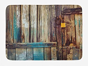 Ambesonne Rustic Bath Mat, Aged Shed Door Backdrop with Color Details Country Living Exterior Pastoral Mansion Image, Plush Bathroom Decor Mat with Non Slip Backing, 29.5
