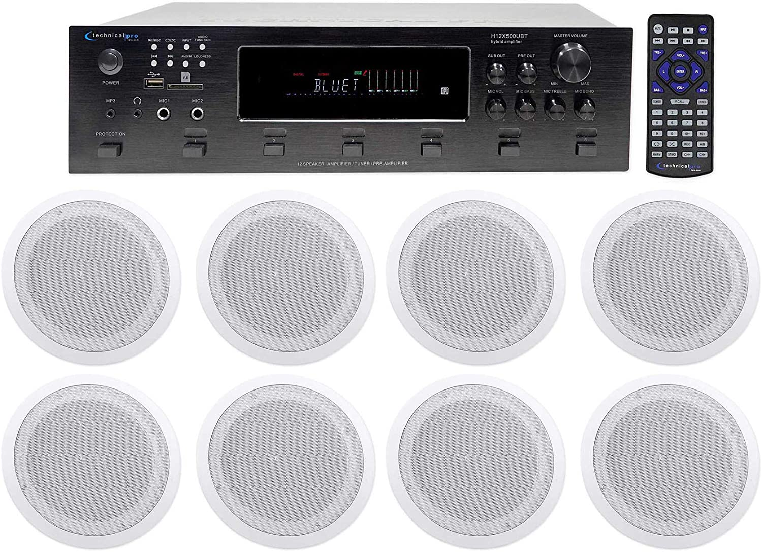 """Technical Pro 6000w (6) Zone, Home Theater Bluetooth Receiver+(8) 8"""" Speakers"""