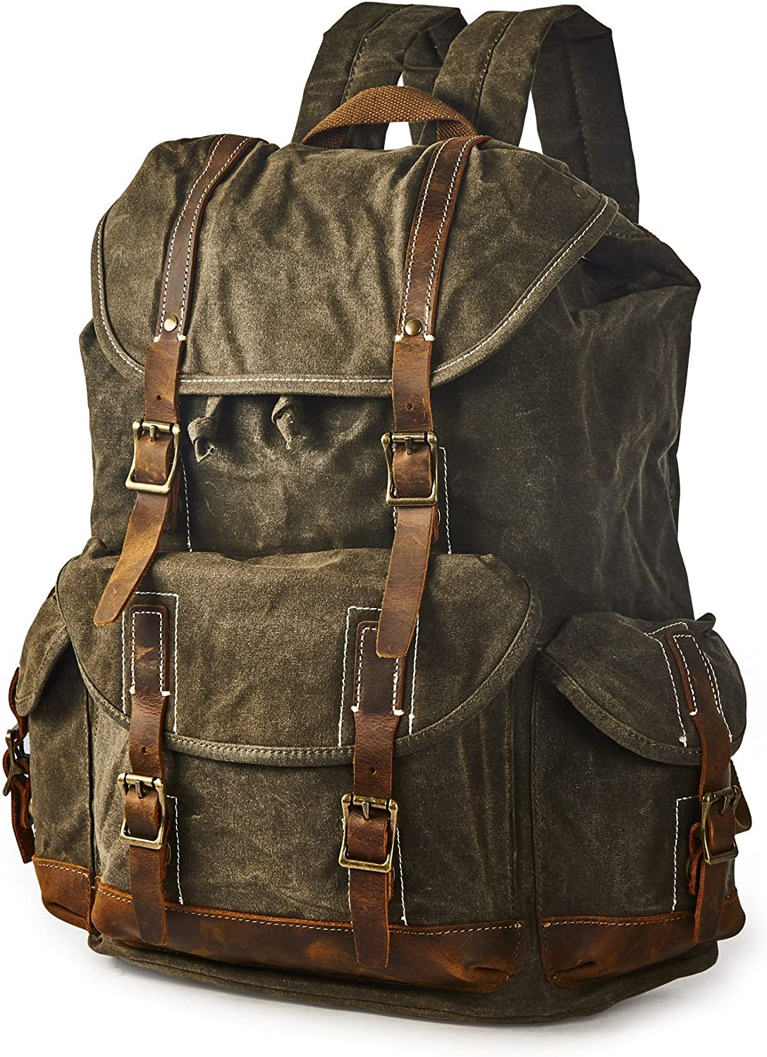 BRASS TACKS Leathercraft Men's Heavy Duty Canvas Genuine Leather Buckle Cargo Pocket Utility Cinched Backpack