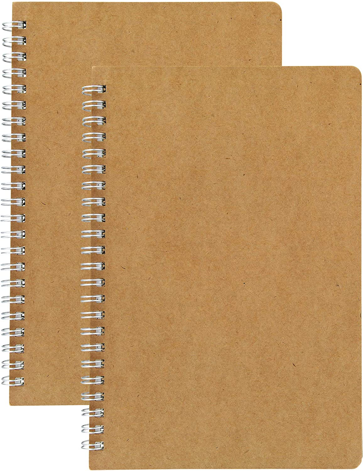 HULYTRAAT Spiral Journal Blank Sketch Book Pad, 5.5 x 8.25 Inches A5, Kraft, 80-Page 40-Sheet Drawing Notebook 2-pack (NBP2)