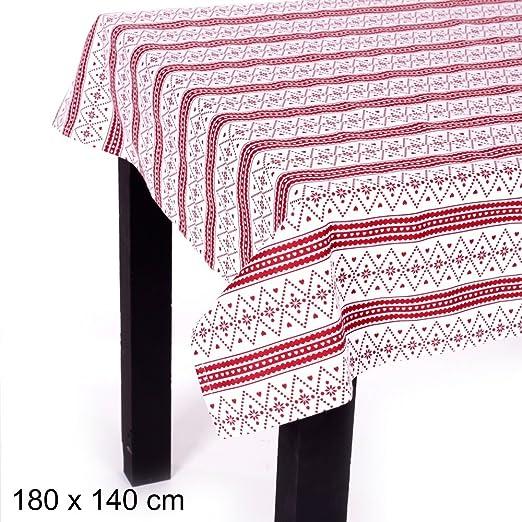 JUINSA Mantel Navidad algodón 180x140cm, Rojo y Blanco, 180x150 cm: Amazon.es: Hogar