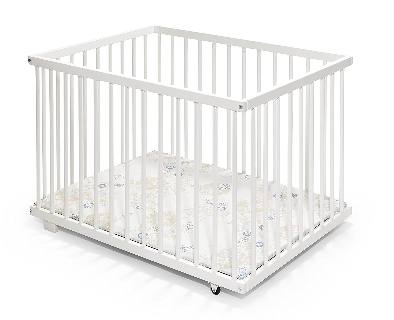 Baby Playpen | Wooden | 100x75 cm | White colour KOKO-Kinderartikel 0415-ZB