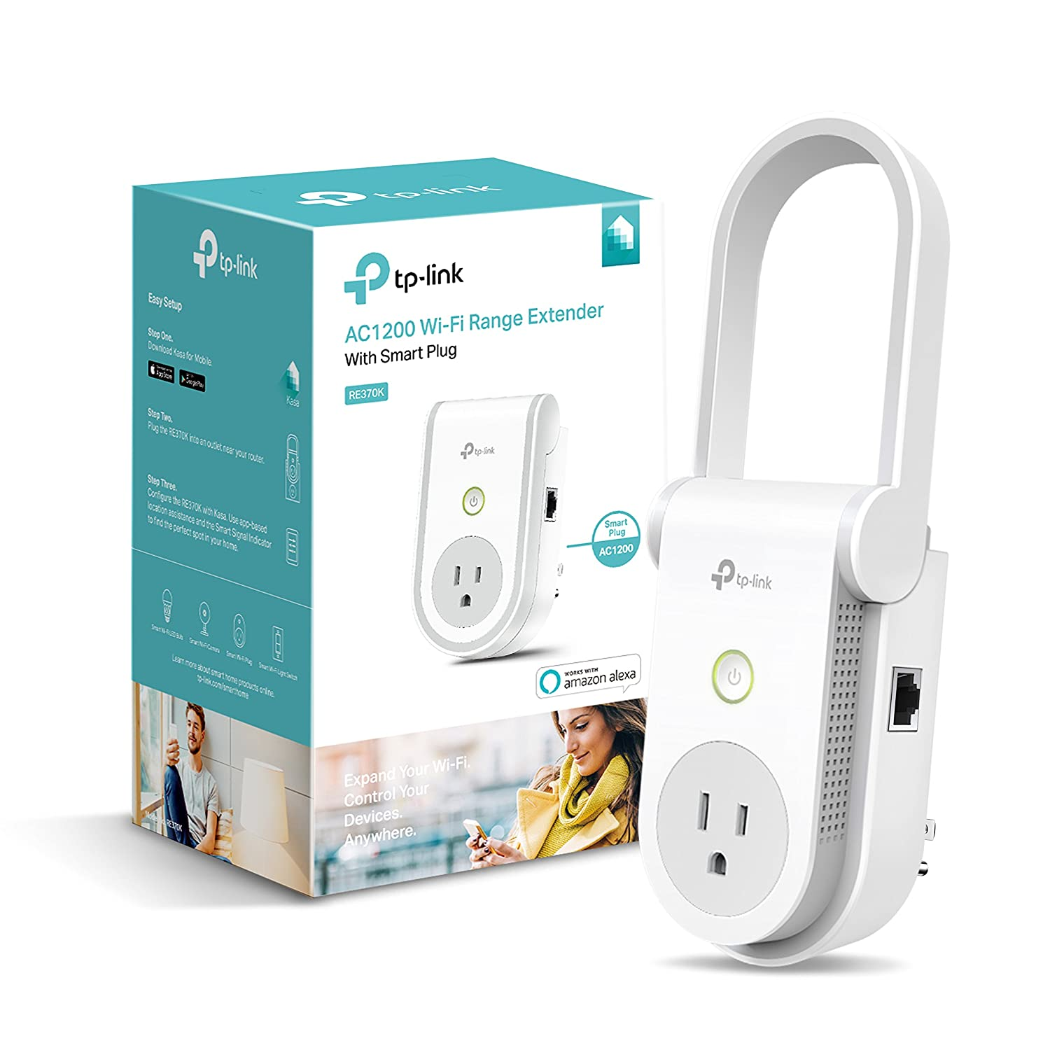 Kasa AC1200 Wi-Fi Range Extender Smart Plug by TP-Link - Fast AC1200 Wi-Fi Extender/Repeater with Built-In Smart Plug, No Hub Required, Works With Alexa and Google Assistant (RE370K)