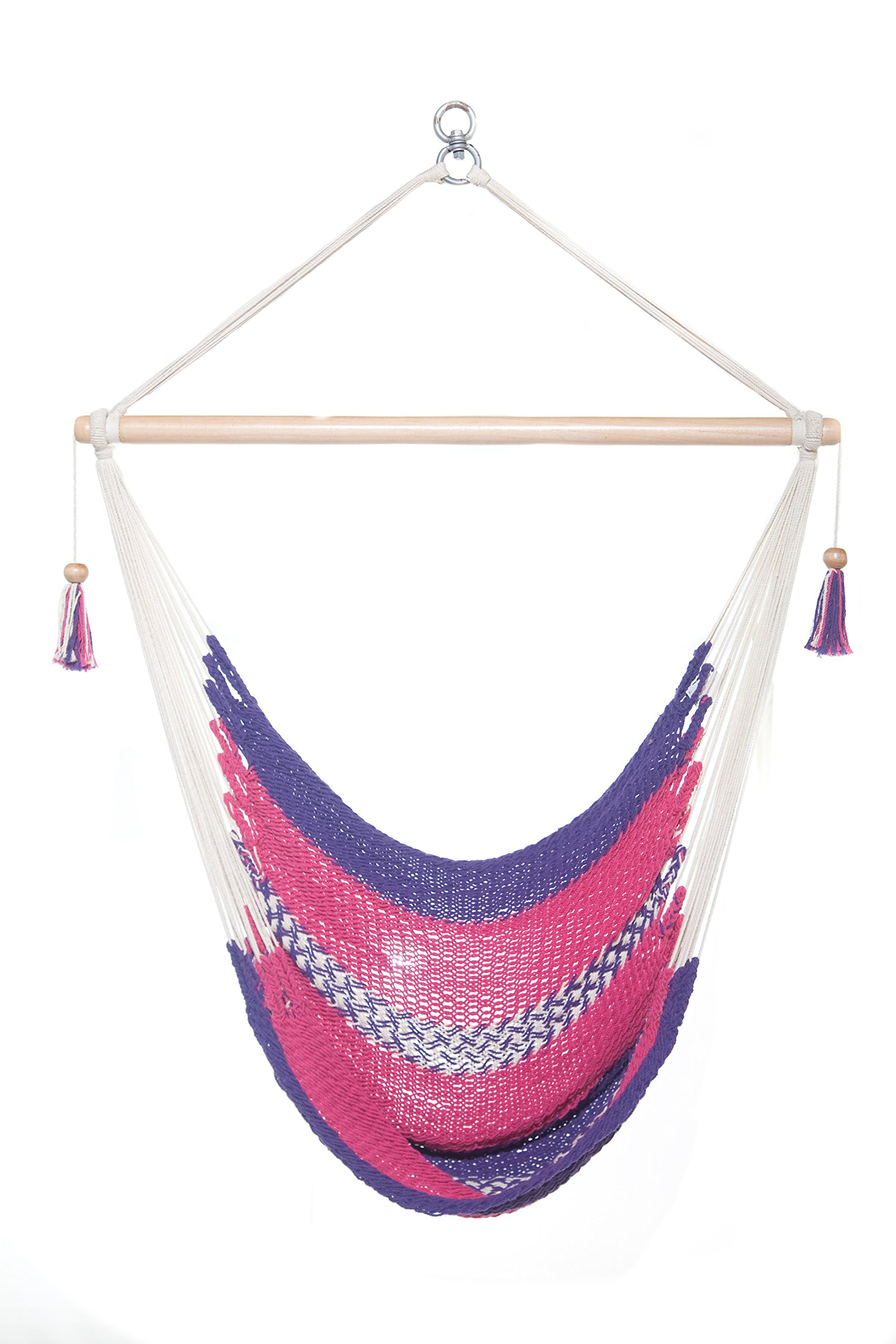Handmade Hanging Rope Hammock Chair - 100% Handmade With Organic Cotton Swing Seat (Purple) - 100% Handwoven Supporting Workers Disabilities Consists of 100% Manila Cotton made in Central America Great for indoor or outdoor use - patio-furniture, patio, hammocks - 8111oI3l9kL -