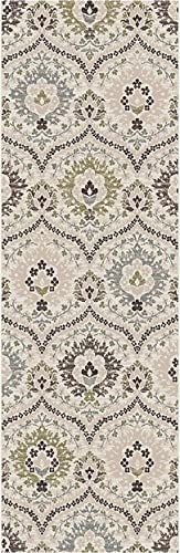 Superior Designer Augusta Collection Area Rug, 8mm Pile Height with Jute Backing, Beautiful Floral Scalloped Pattern, Anti-Static, Water-Repellent Rugs – Beige, 2 7 x 8 Runner