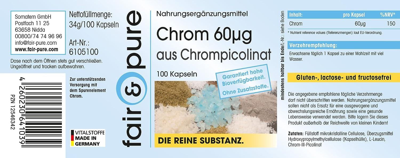 Cromo 60μg - 100 cápsulas - Sustancia pura y sin aditivos: Amazon.es: Salud y cuidado personal