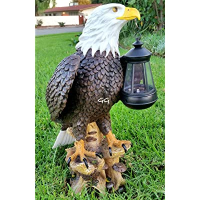 Solar American Bald Eagle Statue with Solar Light-EA: Home & Kitchen