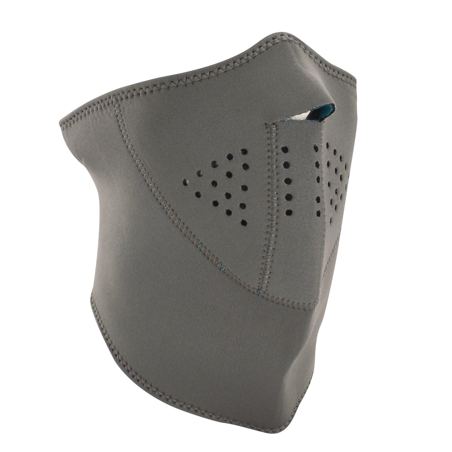 ZANheadgear 3-Panel Neoprene Half Face Mask, Gray Reverses to Teal