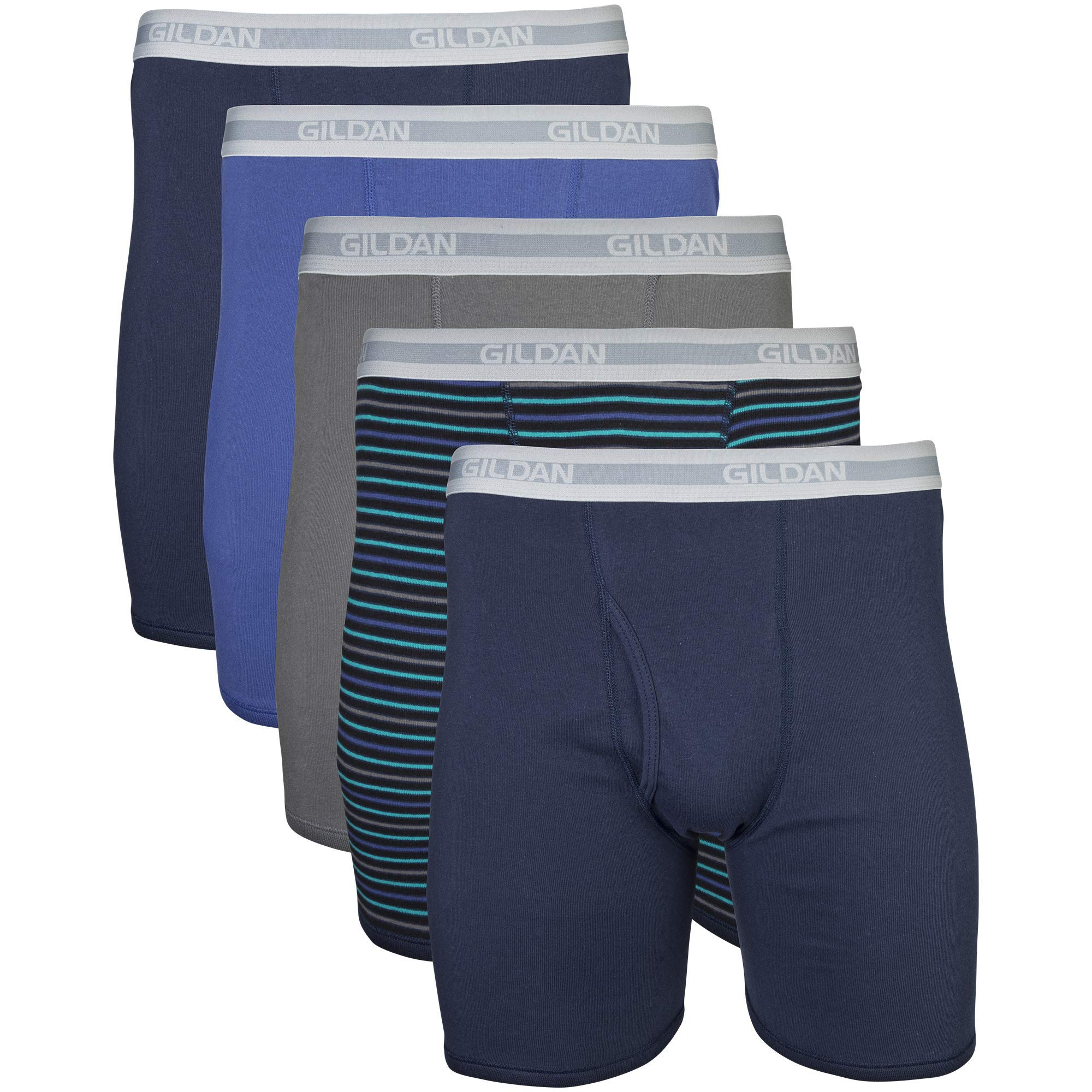 Gildan Men's Regular Leg Boxer Brief 5 Pack, Medium, Mixed Navy by Gildan