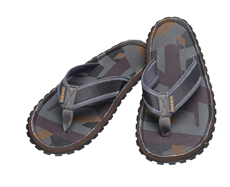 ab444598e76e Sinner Adults Unisex Beach Slaps IV Flip Flops Sandals Rubber - Grey Dark  Brown