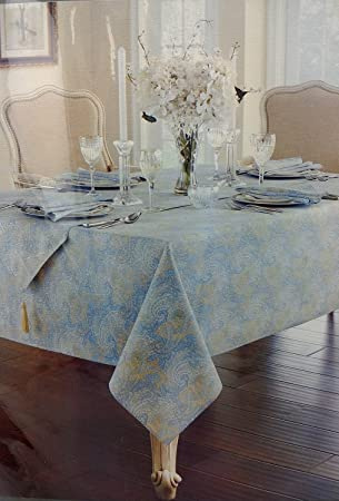 Waterford Linens Blue Green Paisley Cotton Tablecloth, 70 Inch Round