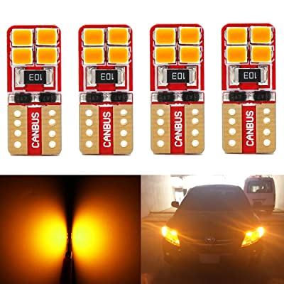 Phinlion Super Bright 2835 8-SMD LED Bulbs for Car Interior Dome Map Door Courtesy License Plate Lights Wedge T10 168 194 2825 Amber Yellow (Pack of 4): Automotive