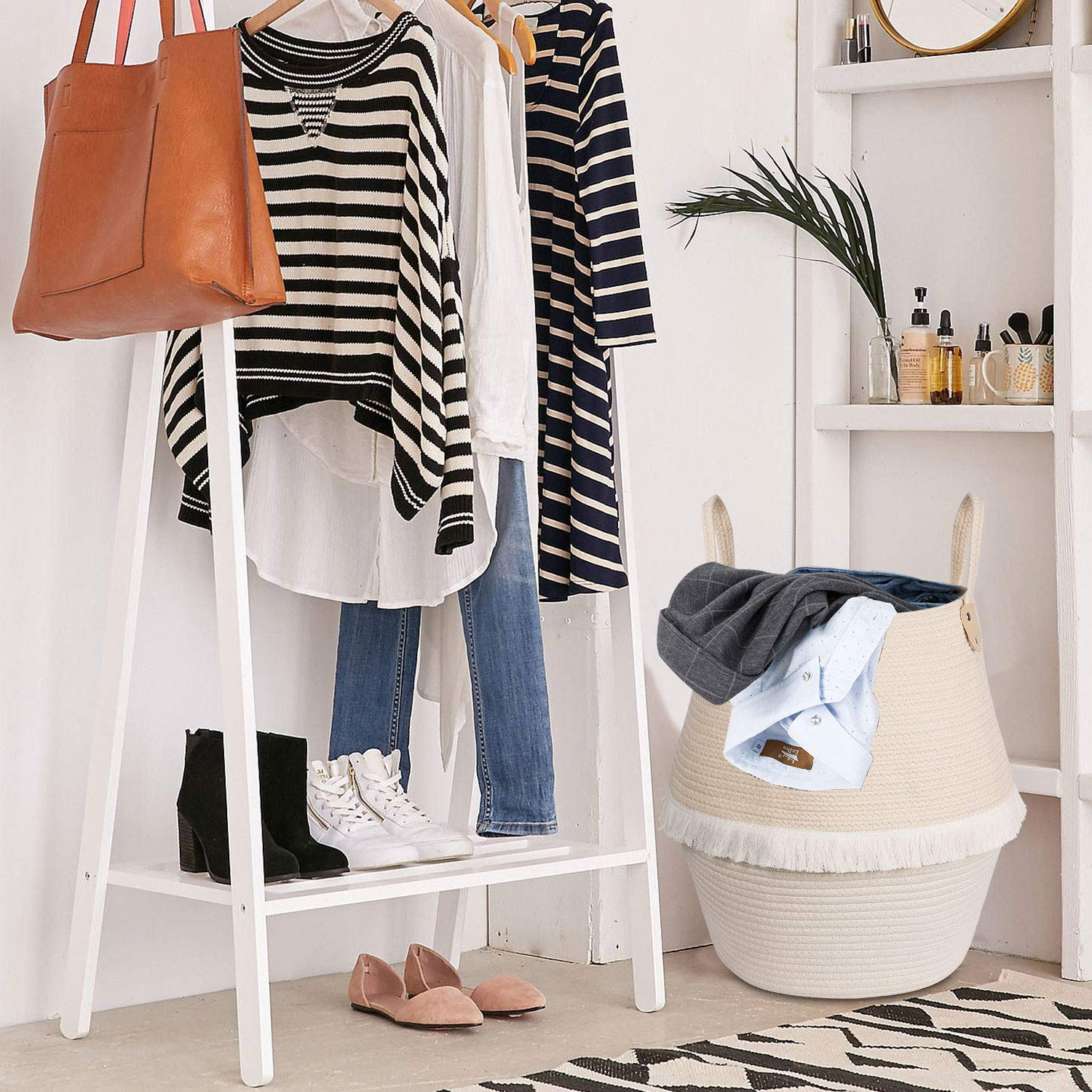 16.5 /× 15 /× 12 Tassels Home Decor Large Woven Storage Basket with Handles for Kids Laundry Blanket Toys Baby Nursery Containers Plant Basket Goodpick Cotton Rope Basket