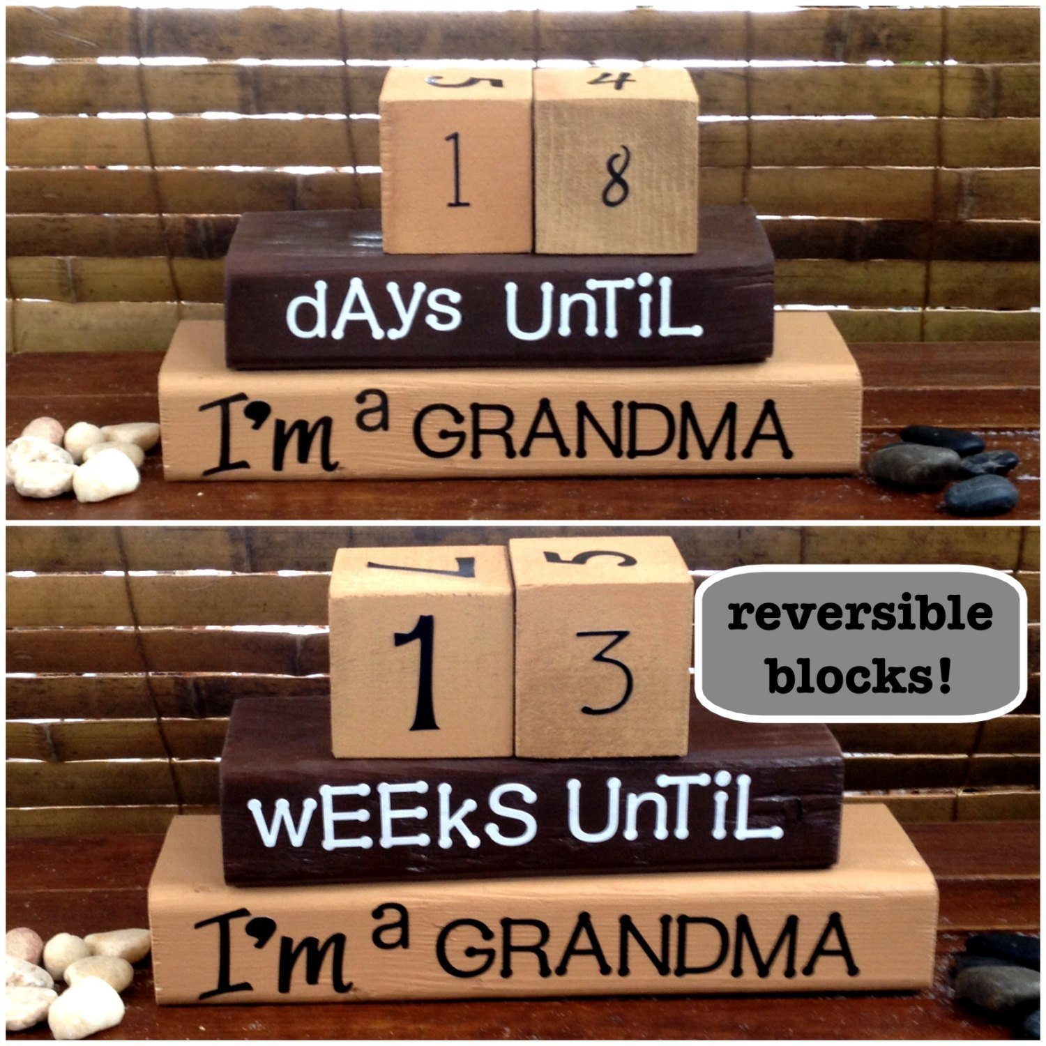 BABY/PREGNANCY REVEAL COUNTDOWN FOR THE NEW GRANDMA! Reversible and interactive stacking wood word block set for home decor...