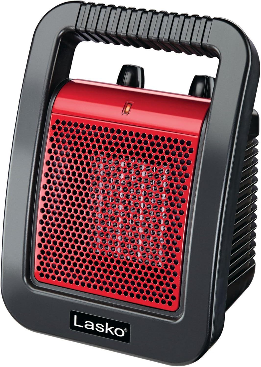 Lasko Ceramic Utility Heater with Adjustable Thermostat, Red CU12110