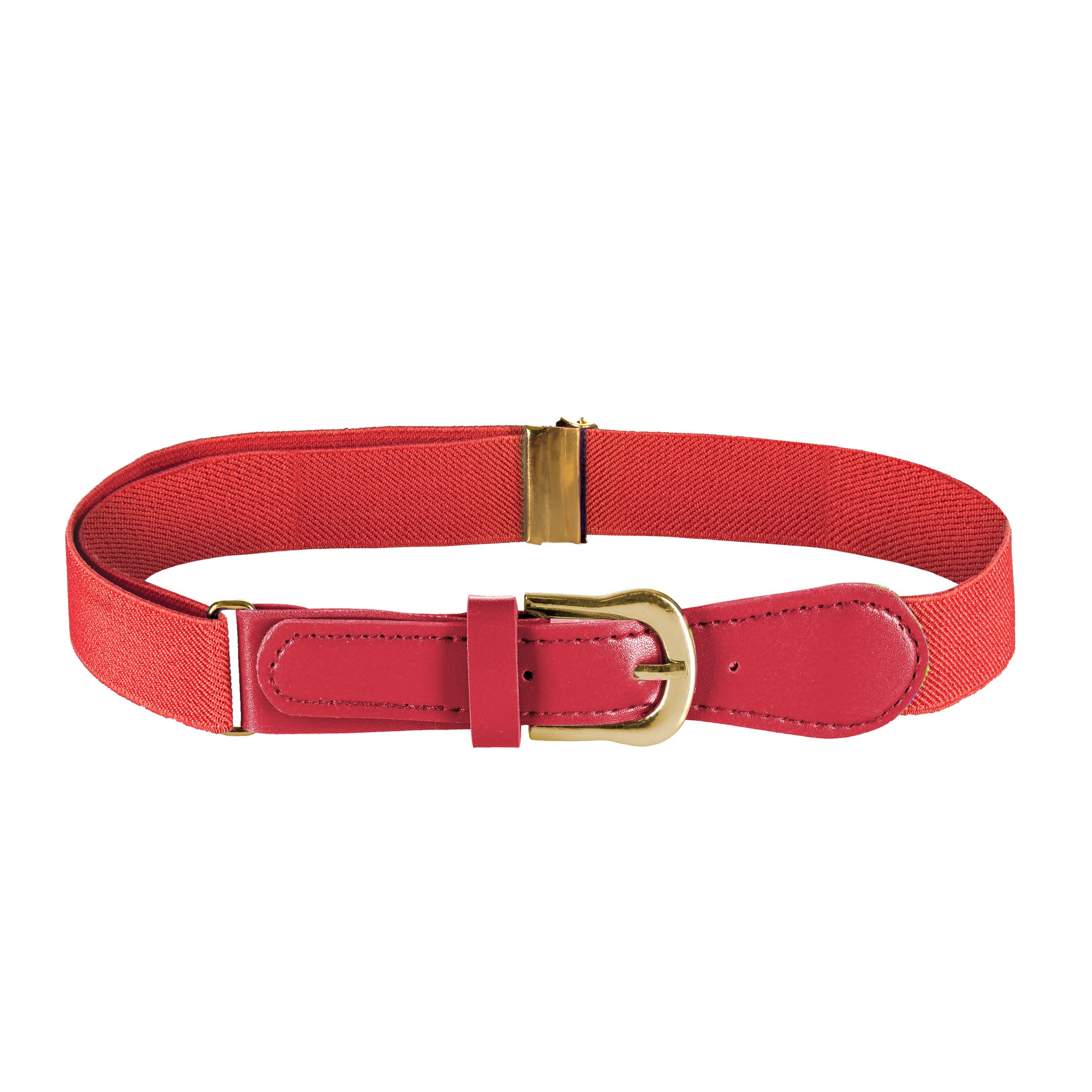FIT RITE Kids Elastic Adjustable Belt with Leather Closure (Red)