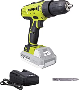 Sun Joe 24V-DD-LTE 24-Volt Lithium iON Cordless Drill Driver, Kit (w/2.0-Ah Battery + Quick Charger)