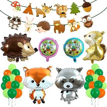 Decoraciones Forestales, Comius 57 Piezas Selva Fiesta de cumpleaños Decoracion Niño, Decoraciones Animales del Bosque Partido Globos, Guirnaldas De ...