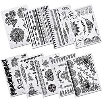 89e70d611 Amazon.com : Aboat Pack of 9 Sheets Henna Temporary Tattoo Black Body Art  Sticker : Beauty