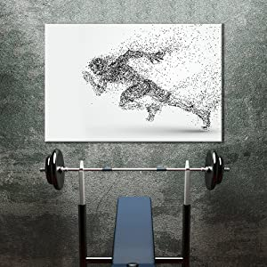 wall26 - Canvas Wall Art Sports Theme - Abstract Shape a Running Man Formed Dots - Giclee Print Gallery Wrap Modern Home Art Ready to Hang - 16x24 inches