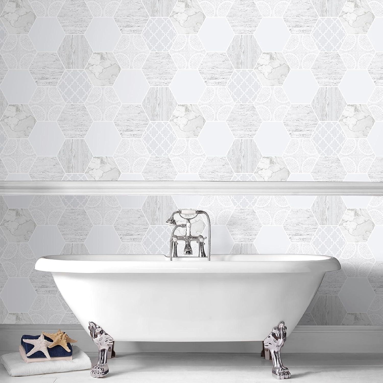 Contour Grey Hexagonal Marble Wallpaper: Amazon.co.uk: Kitchen & Home