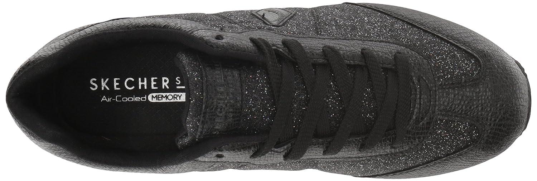 Skechers Women's B0787LX7H8 Highrise-Glitter T Toe Sneaker B0787LX7H8 Women's 11 B(M) US|Black 152303