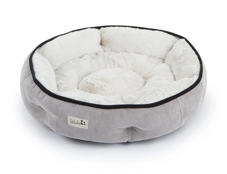 Petlinks Soothing Escape Gel Memory Foam Pet Bed, Medium, Natural Plush/Grey Corduroy