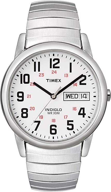 Timex Men S T204619j Easy Reader Silver Tone Stainless Steel Expansion Band Watch Timex Amazon Ca Watches