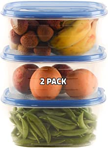 [2 PACK] 76oz Rectangular Plastic Reusable Storage Containers with Snap On Lids - Airtight Stackable Reusable Plastic Food Storage, Leak-Proof, Meal Prep, Lunch, Togo, BPA-Free by EcoQuality