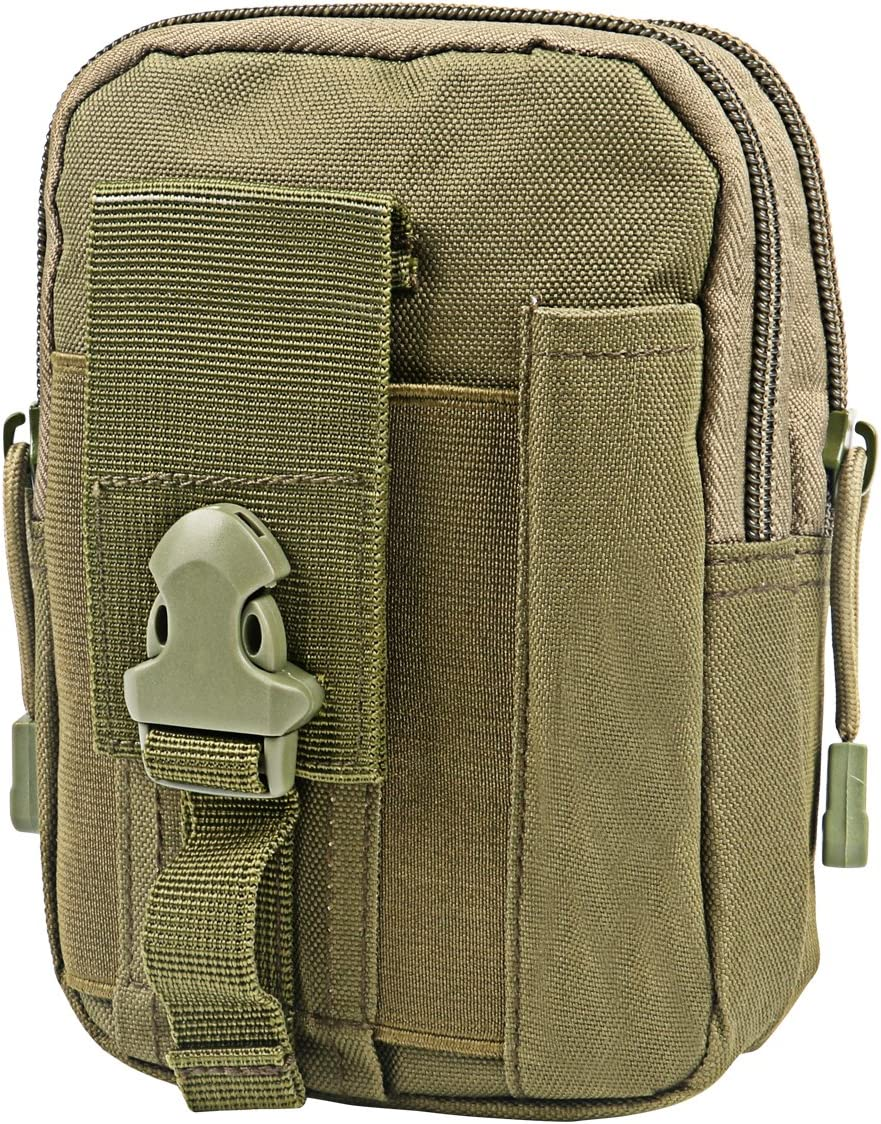 Zeato Tactical Molle Pouch EDC Utility Gadget Belt Waist Bag Pocket Organizer with Cell Phone Holster Holder for iPhone X 8/8 Plus 6/6 Plus 7/7Plus Samsung Galaxy S9 S8 S7 LG HTC and More (Army Green)