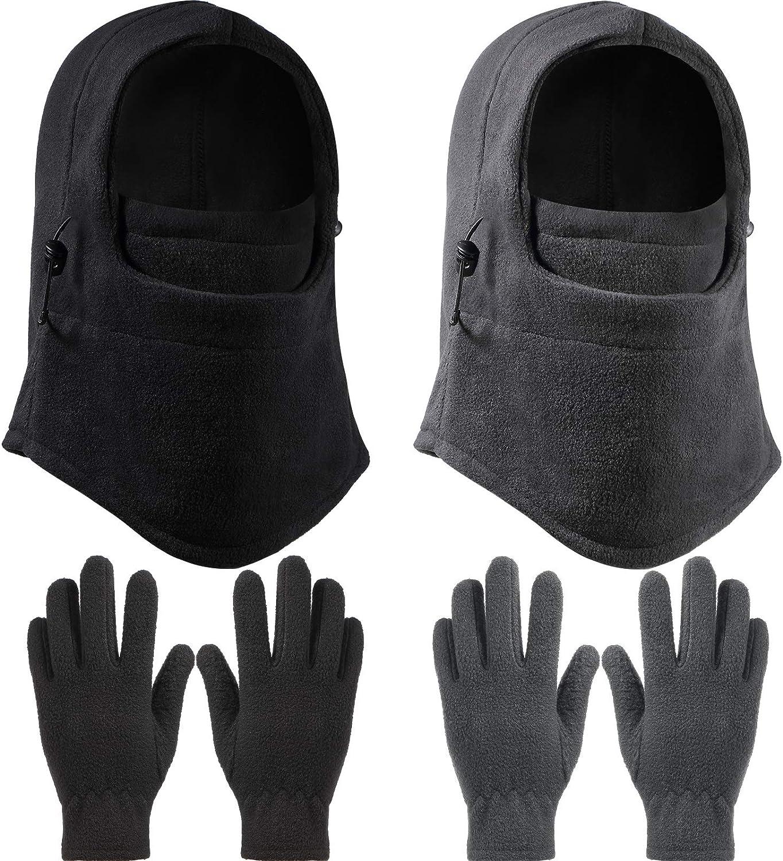 2 Pieces Kid Winter Windproof Hat with 2 Pairs Kid's Polar Fleece Gloves Full Fingers Gloves, Boys Girls Fleece Gloves, Kid's Ski Face Covering, Neck Warmer, Adjustable Full Face Covering for Children