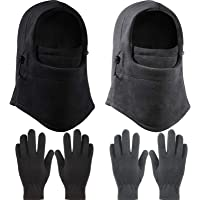 2 Pieces Kid Winter Windproof Hat with 2 Pairs Kid's Polar Fleece Gloves Full Fingers Gloves, Boys Girls Fleece Gloves…