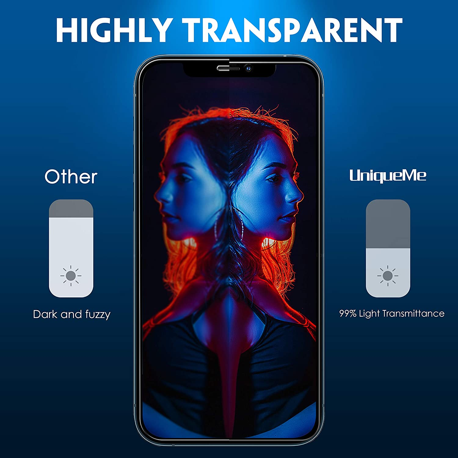 9H Hardness HD Clear Film With Easy installation frame UniqueMe Tempered Glass Privacy Screen Protector Compatible with iPhone 12 Pro Max(6.7 inch), 2 PACK Touch sensitive Bubble Free