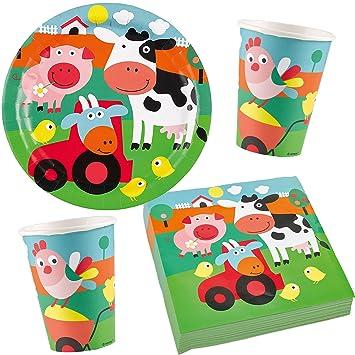37 Juego de * Farm FUN * Party Juego de platos + vasos + ...