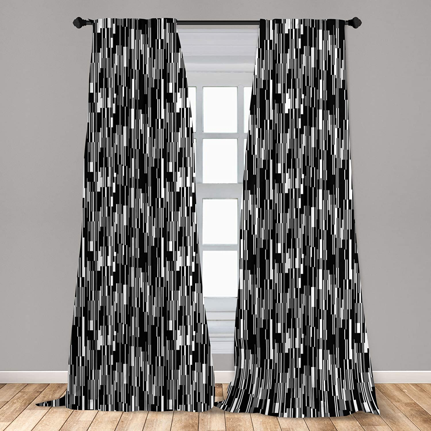 """Ambesonne Black and White 2 Panel Curtain Set, Barcode Pattern Abstraction Vertical Stripes in Grayscale Colors, Lightweight Window Treatment Living Room Bedroom Decor, 56"""" x 84"""", Black Grey"""