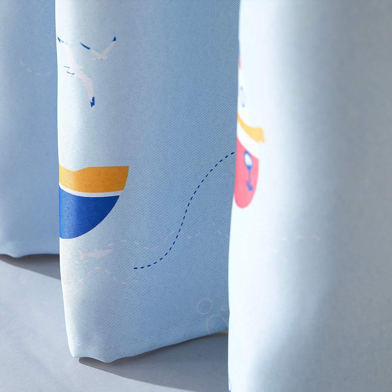 Topfinel Verdunkelungsvorh/änge mit /Ösen Boot//Schiff-Mustern Blickdichte Kurze Vorh/änge f/ür Kinderzimmer Fenster 2er Set je 137x117cm HxB Boot