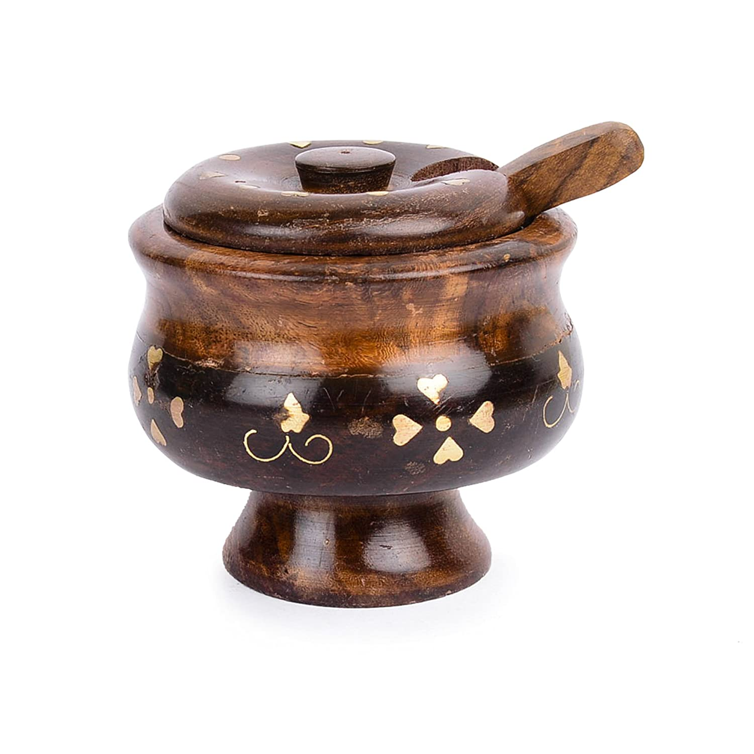 Rusticity Wooden Sugar Bowl with Lid and Spoon - Brass | Handmade | (5x4in)