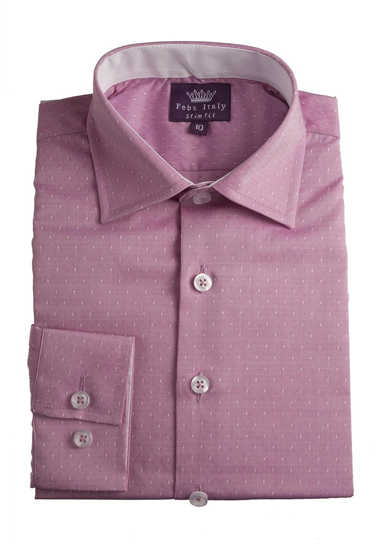 Amazon Boys 100 Cotton Slim Fit Pink Dress Shirt With White