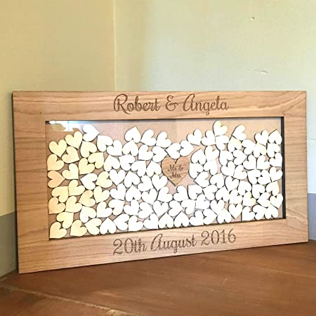 Wooden drop box wedding guest book alternative personalised with wooden drop box wedding guest book alternative personalised with name of couple and date of junglespirit Image collections