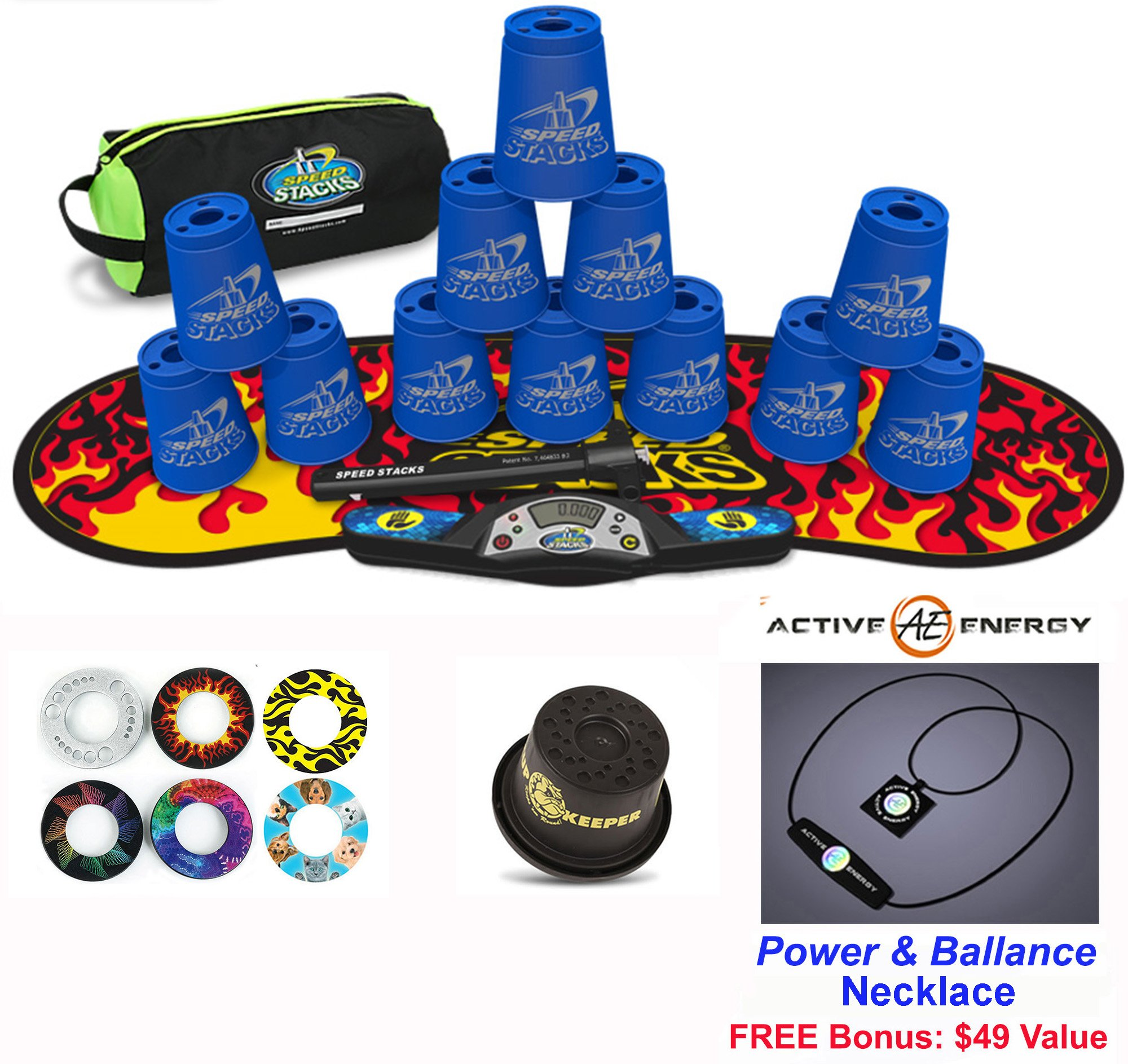 Speed Stacks Combo Set 'The Works'': 12 BLUE 4'' Cups, Black Flame Gen 3 Mat, G4 Pro Timer, Cup Keeper, Stem, Gear Bag + Active Energy Necklace by Speed Stacks
