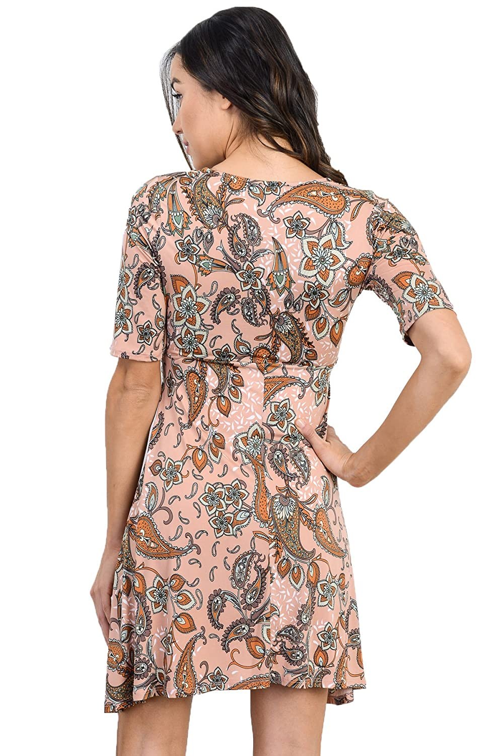 LaClef Womens Flower Print V-Neck Baby Shower Front Tie Maternity Dress