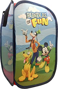 "Jay Franco Disney Junior Mickey Mouse Clubhouse Field Trip Pop Up Hamper - Features Mikey, Goofy, Pluto - Mesh Laundry Basket/Bag with Durable Handles, 22"" x 14"" (Official Disney Product)"